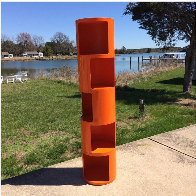 Mid-Century Modern 1960s Kartell Space Age Orange Plastic Modular Shelving Unit For Sale - Image 3 of 5