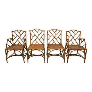 Italian Rattan Chippendale Chairs - Set of 4 For Sale