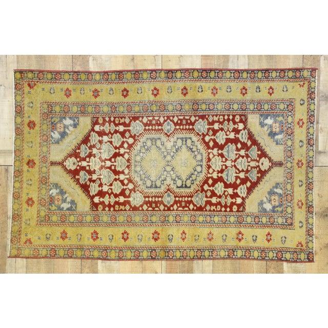 Saffron Vintage Turkish Oushak Rug - 3′10″ × 5′11″ For Sale - Image 8 of 10