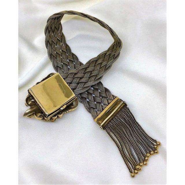 Green 1940s Victorian Revival Goldtone Jeweled Tassel Bracelet For Sale - Image 8 of 9