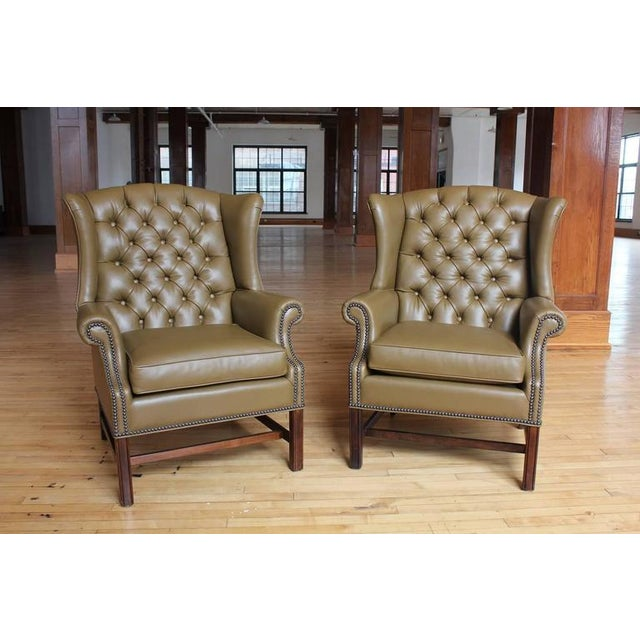 Incredible 1920S Vintage American Library Tufted Leather Wing Chair Spiritservingveterans Wood Chair Design Ideas Spiritservingveteransorg