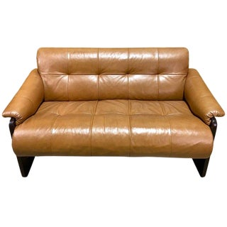 Brazilian Rosewood and Camel Leather Loveseat by Percival Lafer For Sale