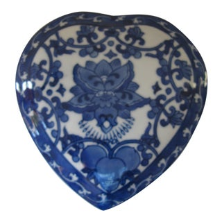 Chinoiserie Blue and White Heart Box For Sale