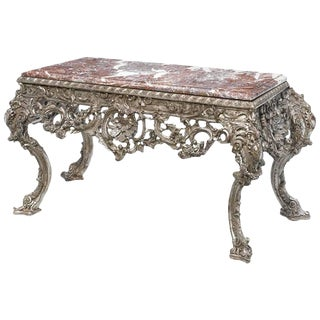 Large Italian Baroque Style Carved Silvered Wood Console For Sale