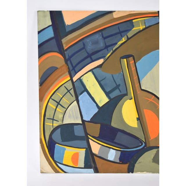 1950s Vintage Dick Fort Cubist Gouache Abstract Shapes Painting For Sale - Image 4 of 9