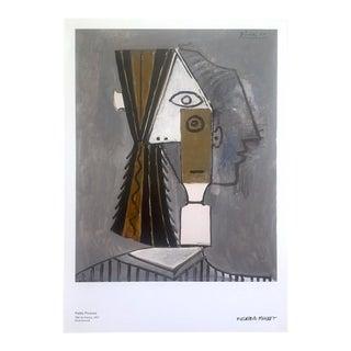 """Pablo Picasso Offset Lithograph Print Sweden Museum Cubist Poster """" Tete De Femme """" 1957 For Sale"""