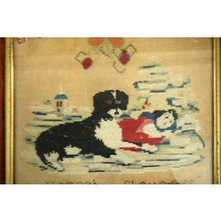 Victorian Dog and His Little Girl Charge Needlepoint Preview