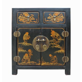 Chinese Black Lacquer Figural Painted End Cabinet or Nightstand For Sale