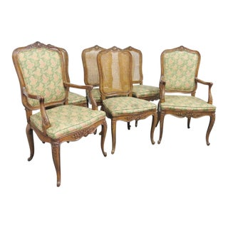 Henredon Louis XV Floral Carved Oak Dining Chairs- Set of 6 For Sale