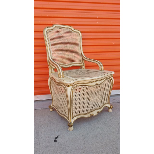"""French provincial / french country commode chair. Very unique conversation piece. Seat height is 17""""."""