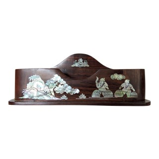 Vintage Vietnamese Mother of Pearl and Rosewood Pen Holder / Desk Organizer For Sale