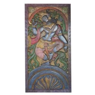 Vintage Indian Hand Carved Krishna Dance on Snake Kaliya Barn Door Wall Sculpture