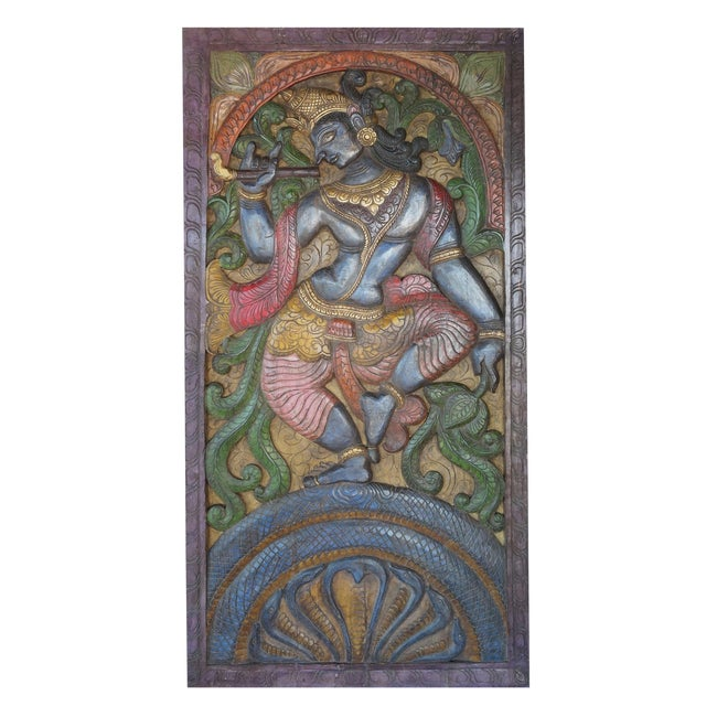 Vintage Indian Hand Carved Krishna Dance on Snake Kaliya Barn Door Wall Sculpture For Sale