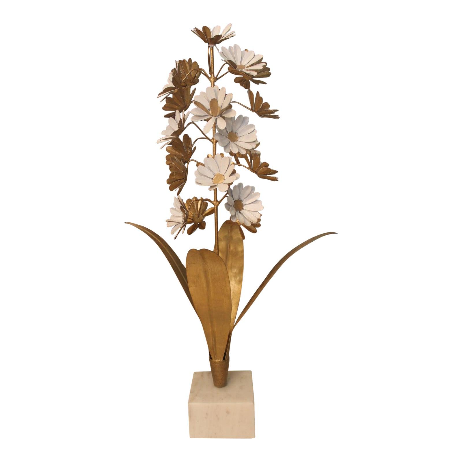 John Richard Gold And White Flower Metal Sculpture Chairish