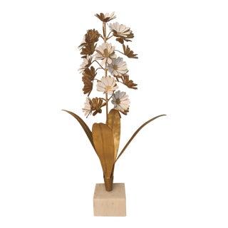 John Richard Gold and White Flower Metal Sculpture