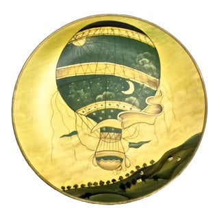 Old World Hot Air Balloon Pottery Plate II For Sale