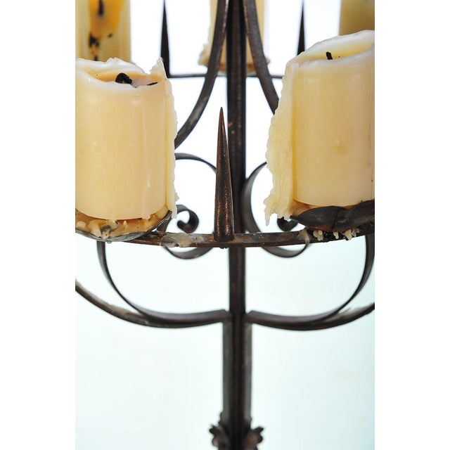 Spanish Revival Wrought Iron 8 Arm Candle Holder For Sale - Image 4 of 10