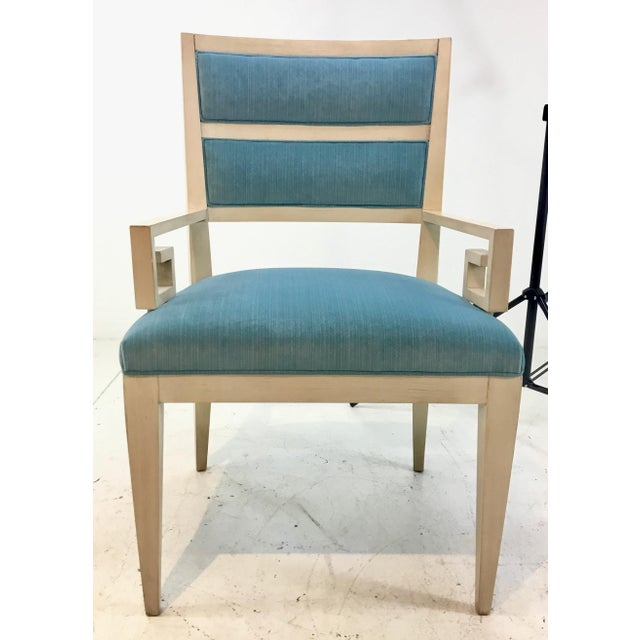 Hickory White Modern Turquoise Velvet Greek Key Dining Chairs Set of Four For Sale - Image 9 of 11