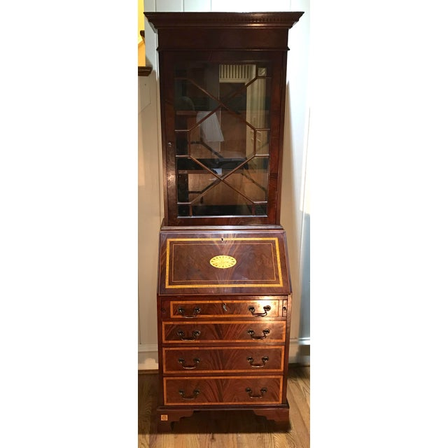 20th Century English Inlaid Desk Secretary With Bookcase For Sale - Image 11 of 13