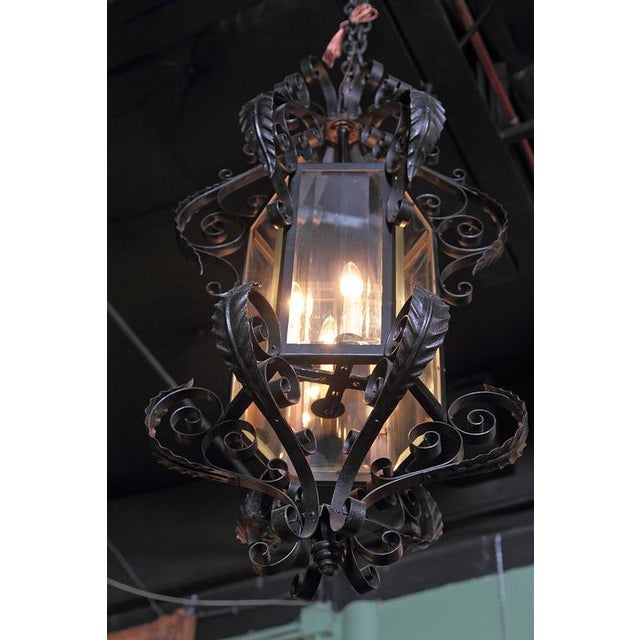 Early 20th Century Early 20th Century French Black Four-Light Iron Lantern With Beveled Glass For Sale - Image 5 of 10