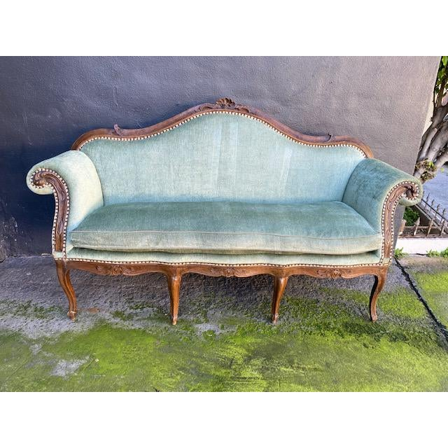 Late 18th C. To early 19th C. French Walnut Settee With Green chenille