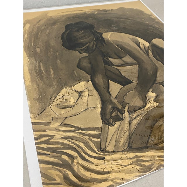 """Mid-Century Modern Mid Century Modern Watercolor """"Washing Clothes"""" Puerto Vallarta by Daniel C.1957 For Sale - Image 3 of 9"""