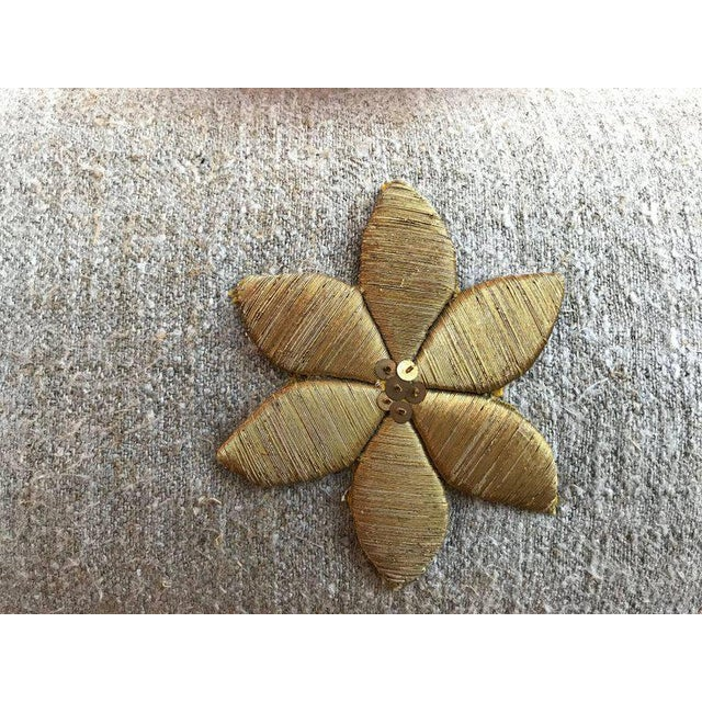 Traditional Antique Gold Flower Applique Pillow For Sale - Image 3 of 5