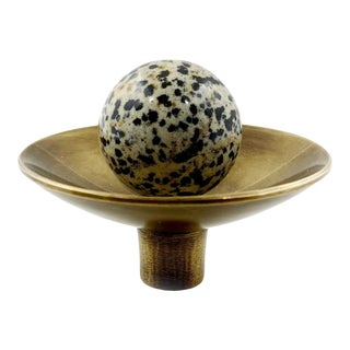 Addison Weeks Gibson Knob, Antique Brass & Dalmation Jasper For Sale