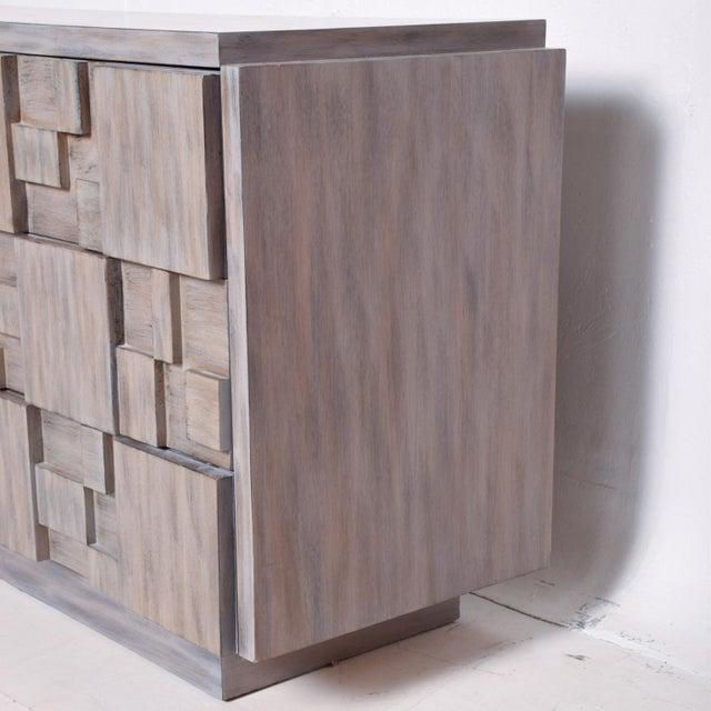 Mid-Century Modern Brutalist Dresser, Lane Patchwork Walnut Tiles, After Paul Evans For Sale In San Diego - Image 6 of 10