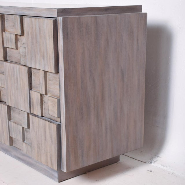 Mid-Century Modern Brutalist Dresser with Lane Patchwork Walnut Tiles For Sale In San Diego - Image 6 of 10