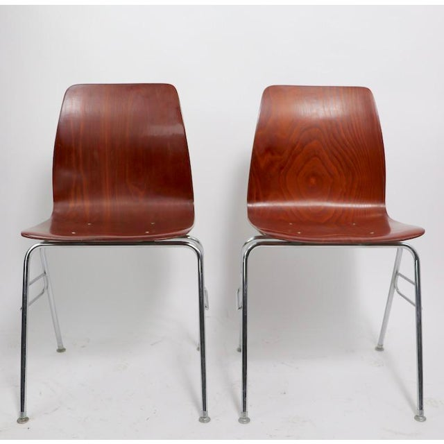 Pr. Royal Pagholz Mid Century Stacking Chairs For Sale - Image 9 of 9