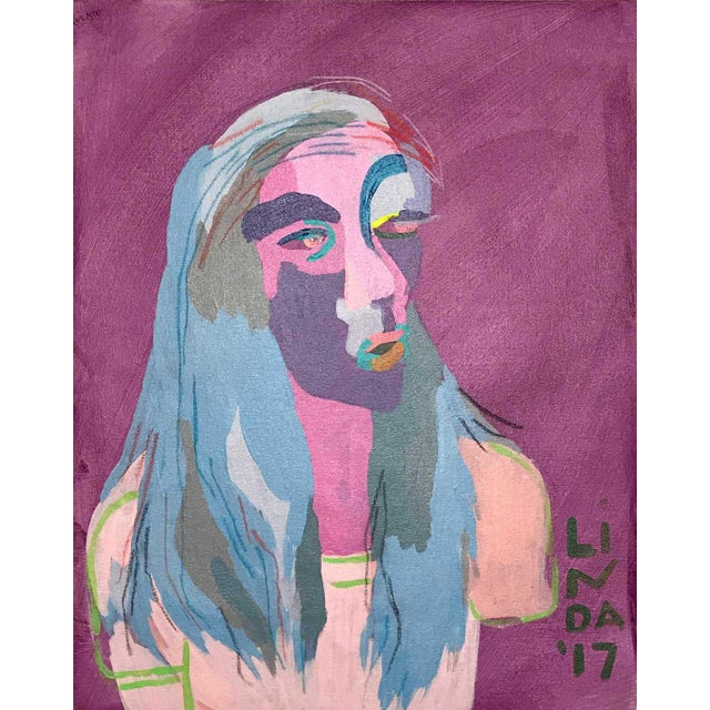 """Contemporary Abstract Portrait Painting """"This Is This, That Is That"""" - Framed For Sale"""