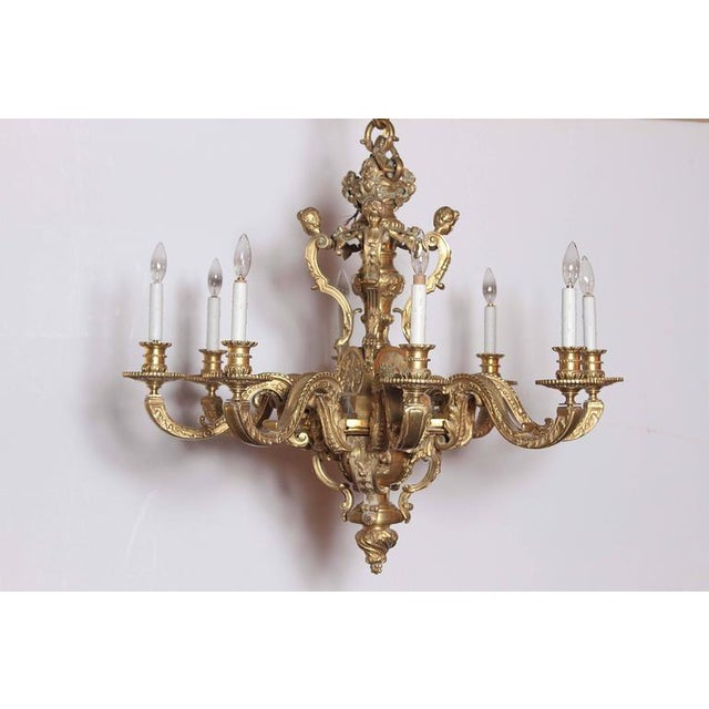 19th century french eight light louis xv bronze chandelier with 19th century french eight light louis xv bronze chandelier with cherubs image 2 of aloadofball Gallery