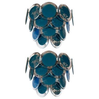 Modernist 14-Disc Sconces in Handblown Murano Turquoise & Translucent Glass - a Pair For Sale