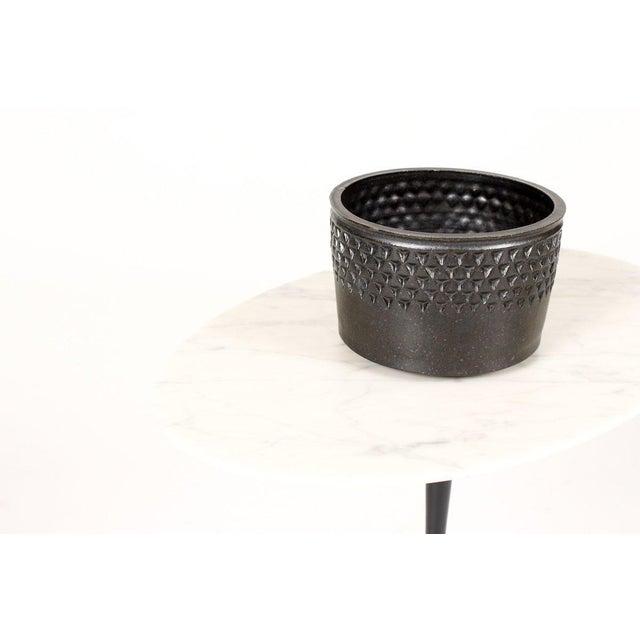 Christian Boehr Ceramic Stoneware Planter —Small Delta Pattern —Black Glaze — P55 For Sale - Image 4 of 5