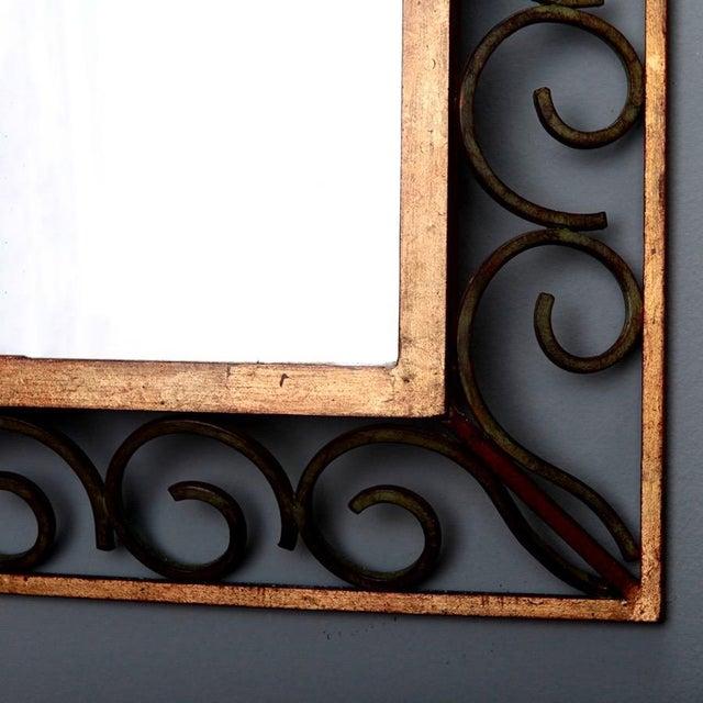 Art Deco Gilt Iron Scroll Framed Rectangular Mirror For Sale - Image 5 of 7