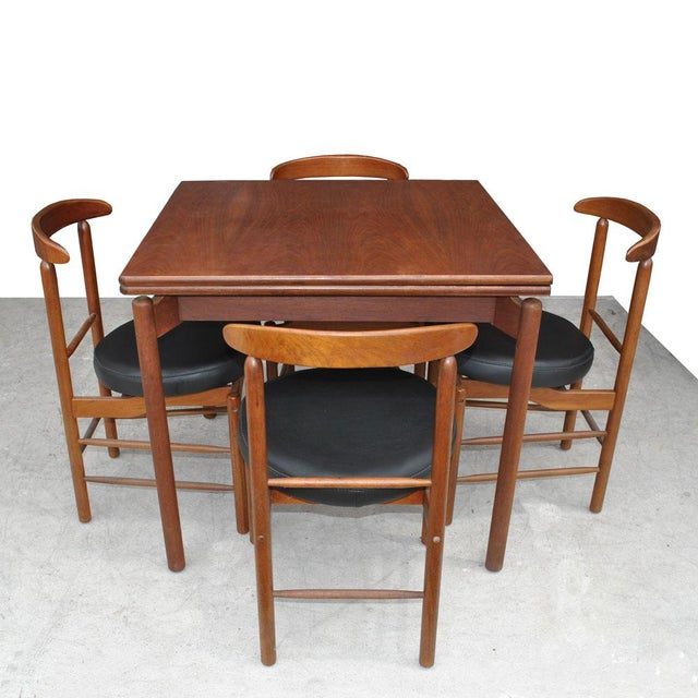 1960s Vintage Greta Grossman Teak Expandable Dining Table and Chairs - 5 Pieces For Sale - Image 12 of 12