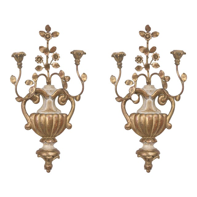 Pair of Palladio Style Cream and Gilt Sconces For Sale