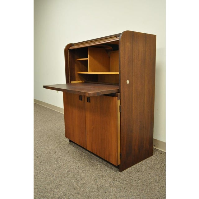 1960s 1960 S Danish Style Teak Tambour Roll Top Secretary Desk For Image 5 Of
