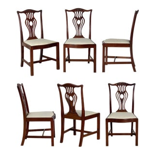 Set of Six English Dining Chairs of Mahogany in the Art Nouveau Style For Sale