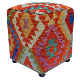 Boho Chic Hutchens Rust/Green Handmade Kilim Upholstered Ottoman For Sale