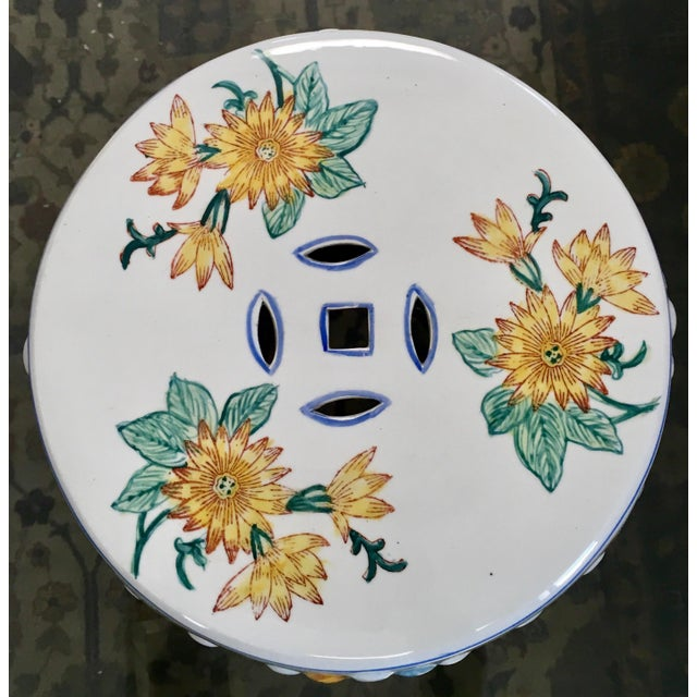 2000s Chinoiserie Floral Garden Seat For Sale - Image 5 of 7