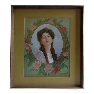 "Antique Forbes Lithograph of ""Prudential Girl"" For Sale"
