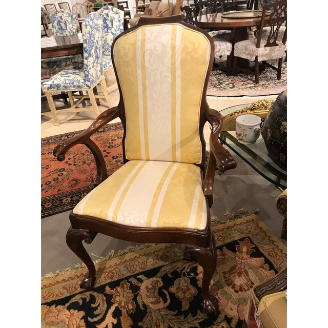 1980s Yellow & White Striped Claw Foot Queen Anne Arm Chair For Sale - Image 5 of 5