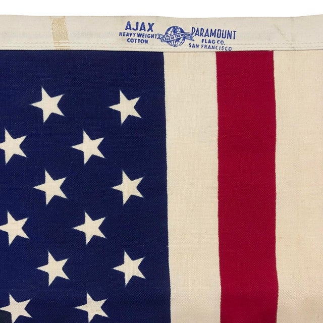 Late 20th Century Small Vintage Cotton American Flag For Sale - Image 5 of 6