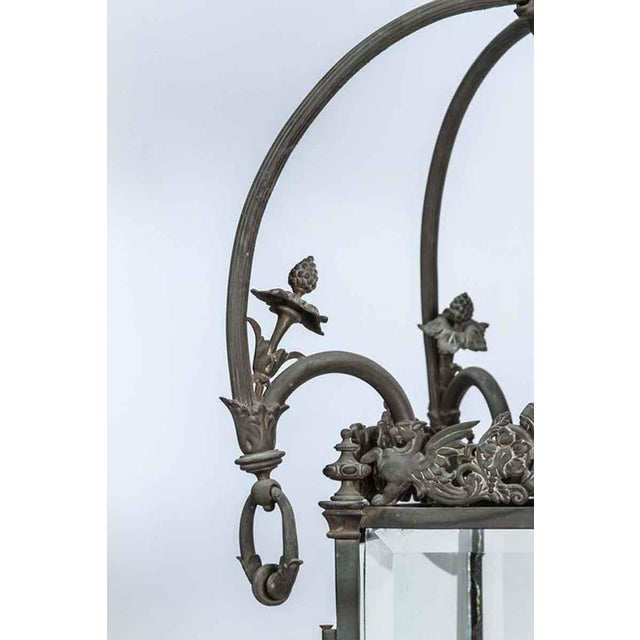 1930s Bronze Lantern With Etched Glass For Sale - Image 4 of 9