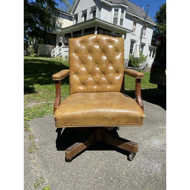 Vintage Executive Tufted Leather Swivel Office Desk Chair For Sale - Image 13 of 13