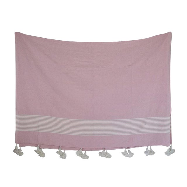 Moroccan Pom Pom Blanket, White Stripes on Pink With White Pom Poms For Sale
