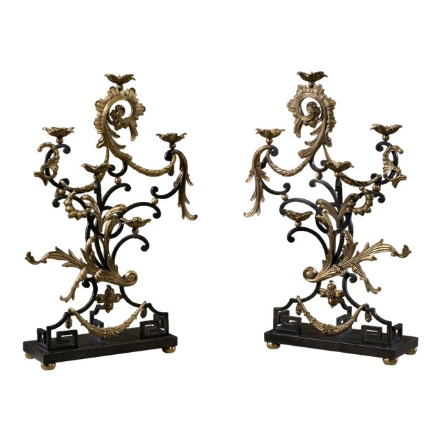 18th Century Rococo Style Iron and Brass Candle Holders by Theodore Alexander - a Pair For Sale
