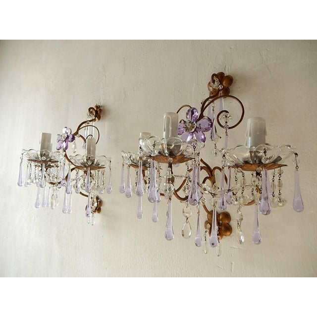 French Murano Drops Lavender Crystal Flowers Three-Light Sconces, circa 1920 For Sale - Image 10 of 10